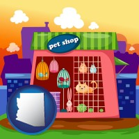 arizona map icon and a pet shop