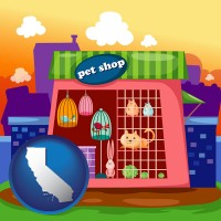 california map icon and a pet shop