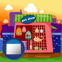 colorado map icon and a pet shop