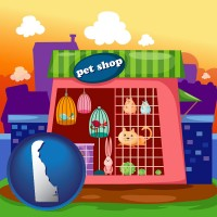 delaware map icon and a pet shop