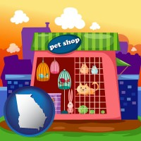 georgia map icon and a pet shop