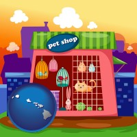 hawaii map icon and a pet shop