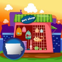 iowa map icon and a pet shop