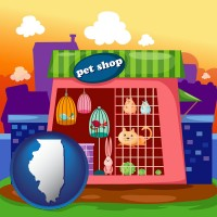 illinois map icon and a pet shop