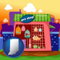 indiana map icon and a pet shop