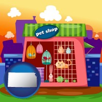kansas map icon and a pet shop