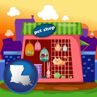 louisiana map icon and a pet shop