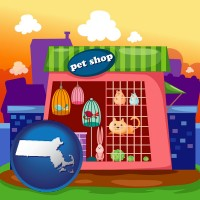 massachusetts map icon and a pet shop