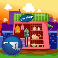 maryland map icon and a pet shop