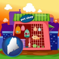maine map icon and a pet shop