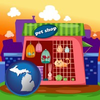 michigan map icon and a pet shop