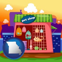 missouri map icon and a pet shop