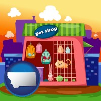 montana map icon and a pet shop