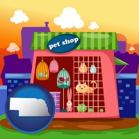 nebraska map icon and a pet shop