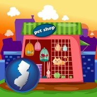 new-jersey map icon and a pet shop