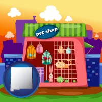 new-mexico map icon and a pet shop