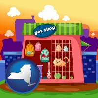 new-york map icon and a pet shop