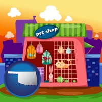 oklahoma map icon and a pet shop
