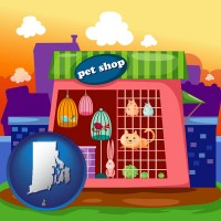 rhode-island map icon and a pet shop