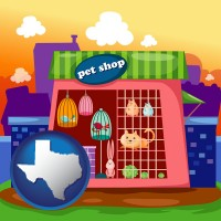 texas map icon and a pet shop