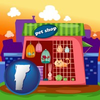 vermont map icon and a pet shop