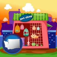 washington map icon and a pet shop