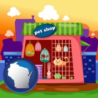 wisconsin map icon and a pet shop