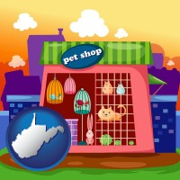 west-virginia map icon and a pet shop