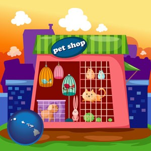 a pet shop - with Hawaii icon