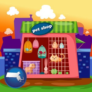 a pet shop - with Massachusetts icon