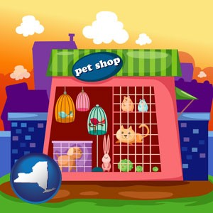 a pet shop - with New York icon