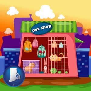 a pet shop - with Rhode Island icon
