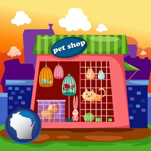 a pet shop - with Wisconsin icon
