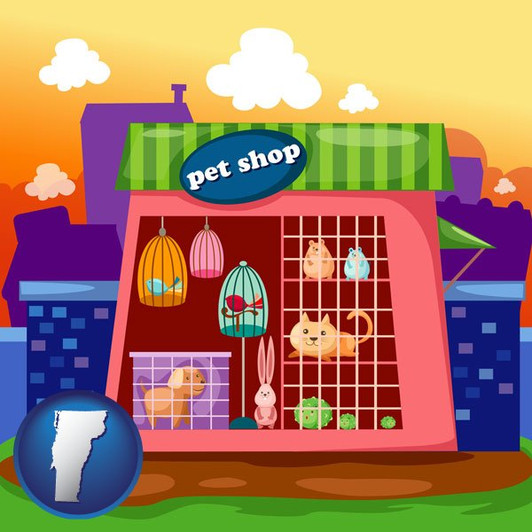 This web page lists pet shops in the state of vermont